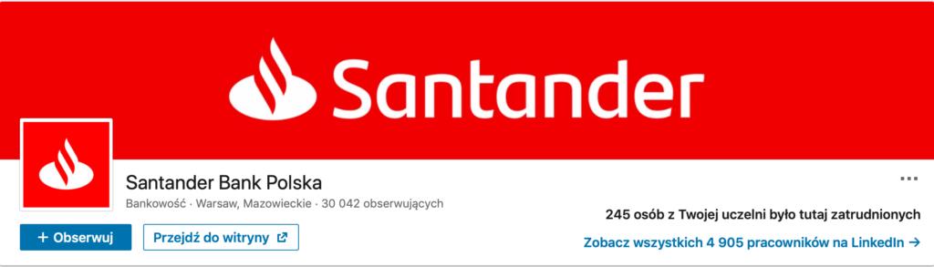Strony firmowe na Linkedin - Santander